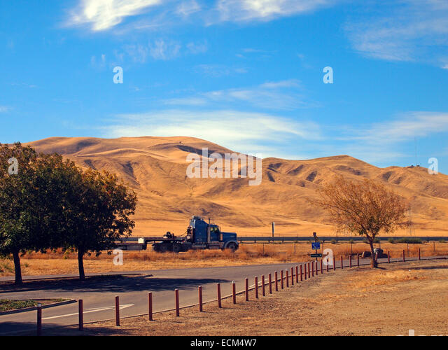 rest stop along Interstate 5 in California, - Stock Image