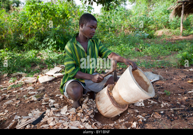 MECATI FOREST, NEAR NAMPULA, MOZAMBIQUE, May 2010 : A group of charcoal producers cut and clear trees. - Stock Image