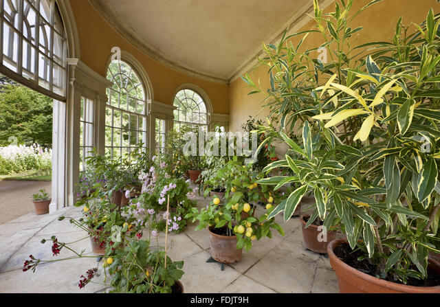 Inside the semicircular Garden House in the Pleasure Grounds at Osterley, Middlesex. The Garden House was built - Stock-Bilder