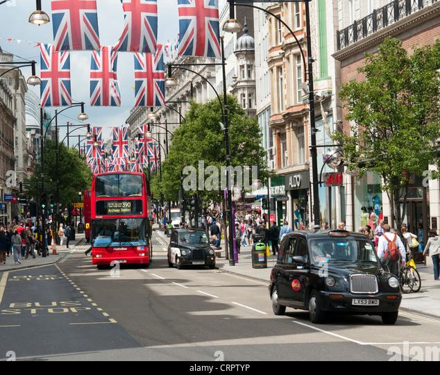 Oxford Street in London Britain - Stock Image