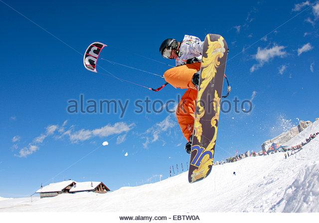 snowkiter jumping, Italy - Stock-Bilder