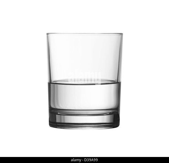 low half full glass of water isolated on white with clipping path included - Stock Image