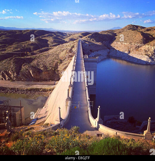 USA, New Mexico, View of Elephant Butte Dam - Stock Image