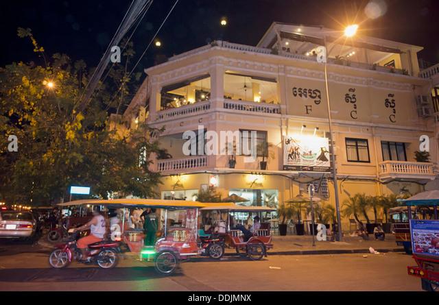 FCC, Foreign Correspondent Club at night in Phnom Penh , Cambodia - Stock Image