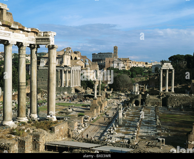 antique Ancient world antiquity forum historical Italy Europe Rome Roman Roman ruins - Stock Image