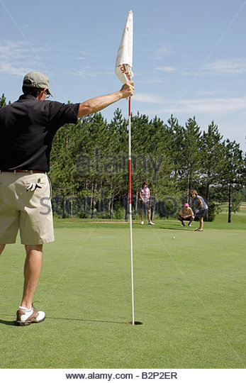 Wisconsin Kenosha Kansasville Brighton Dale Links golf course county park system man men woman women foursome couples - Stock Image