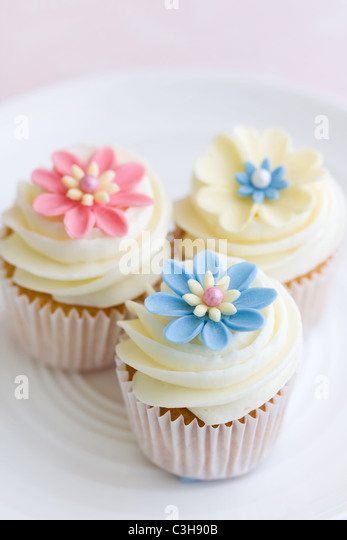 Flower cupcakes - Stock Image