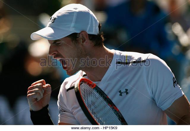 Tennis - Australian Open - Melbourne Park, Melbourne, Australia - 22/1/17 Britain's Andy Murray reacts during - Stock-Bilder