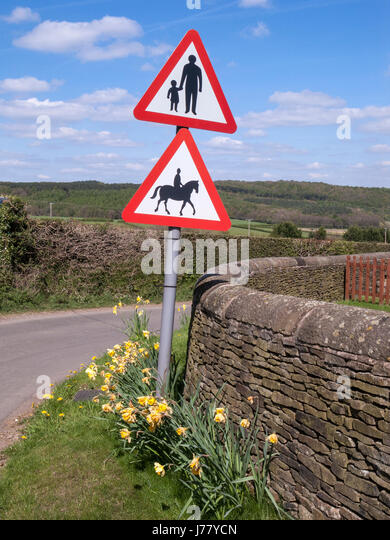 Road Warning Signs, Horse Riders and Children, Derbyshire - Stock Image