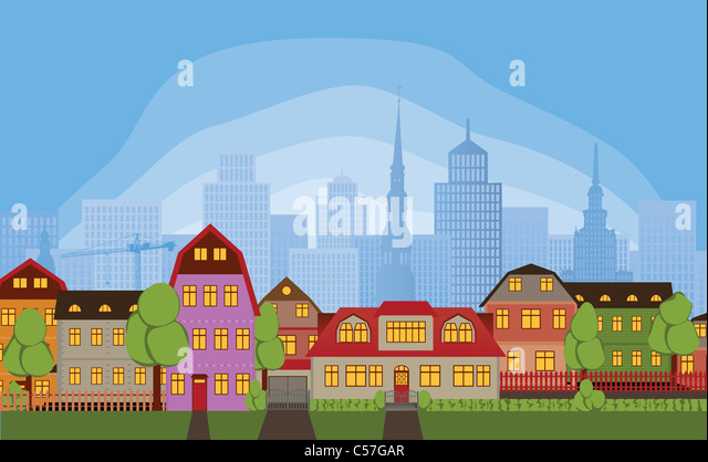 Row of houses in quiet neighborhood district of large busy town - Stock Image