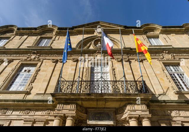 Town Hall, Hotel de Ville, Clock Tower, Aix-en-Provence, Bouche du Rhone, Provence, France - Stock Image