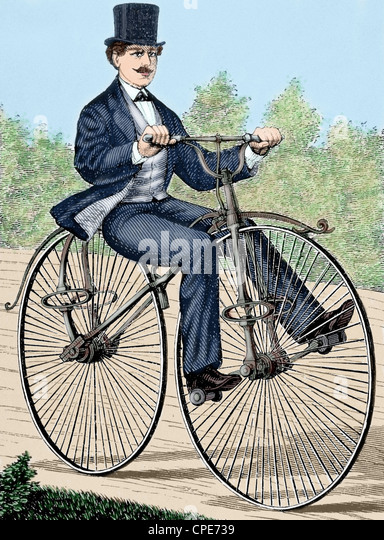 USA. Old bicycle. 19th century engraving. Colored. - Stock-Bilder