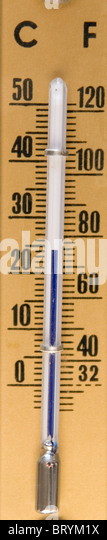 Thermometer, with Fahrenheit & Celsius scales - Stock Image