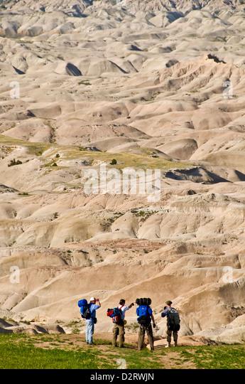 Hikers preparing to enter the Badlands, Black Hills, South Dakota - Stock Image