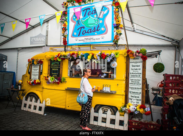 A quaint little van converted to serve refreshments at the British Street Food Festival in 2015. - Stock Image