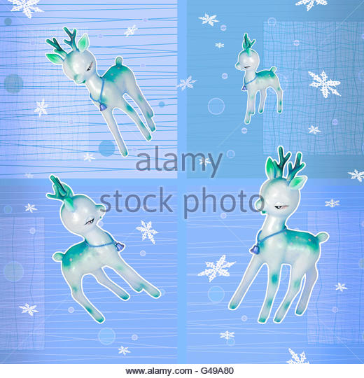 Plastic deer retro festive Christmas snowflake yuletide illustration - Stock Image