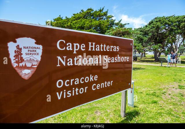 North Carolina NC Outer Banks Ocracoke Island Cape Hatteras National Seashore Visitor Center sign - Stock Image
