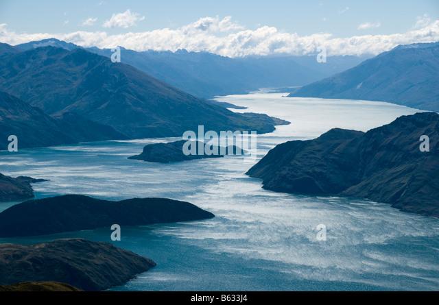 Lake Wanaka from Roys Peak, South Island, New Zealand - Stock Image