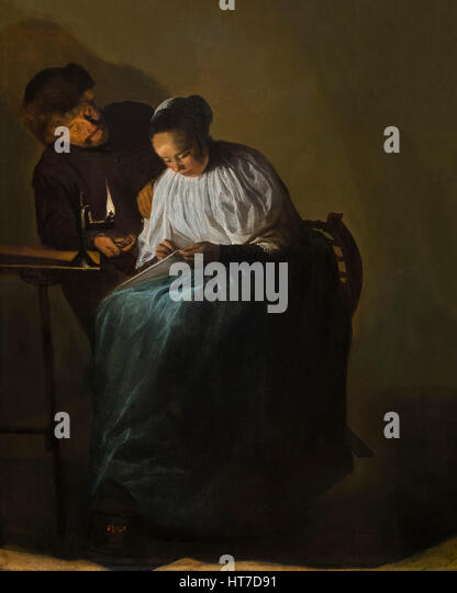 Man Offering Money to a Young Woman, by Judith Leyster, 1631, Royal Art Gallery, Mauritshuis Museum, The Hague, - Stock Image