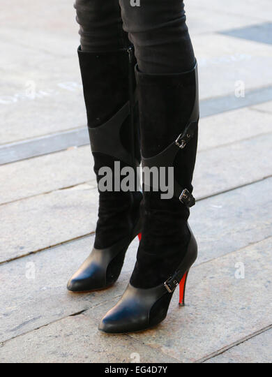 Black Suede Knee High Boots Stock Photos & Black Suede ...