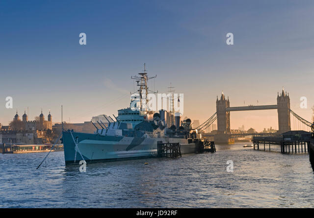 HMS Belfast, Tower Bridge and Tower of London UK - Stock Image
