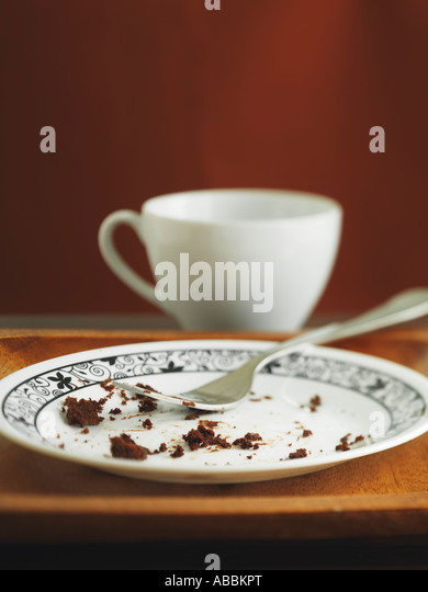 Chocolate Cake and Cup of Coffee - Stock Image