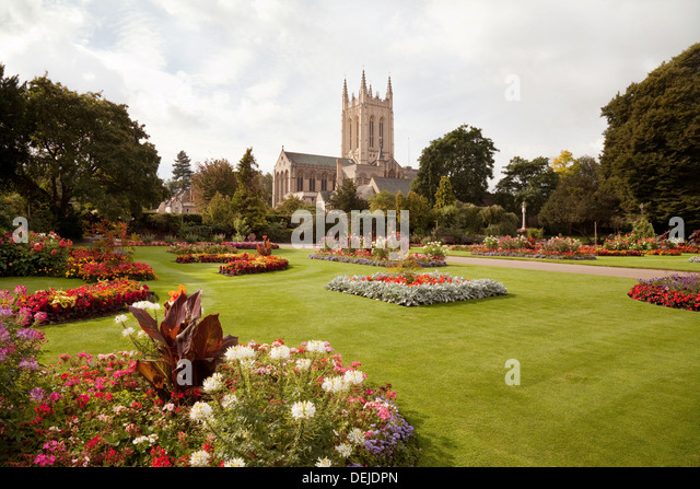 Bury St Edmunds cathedral seen from the Abbey Gardens, Suffolk, UK - Stock Image