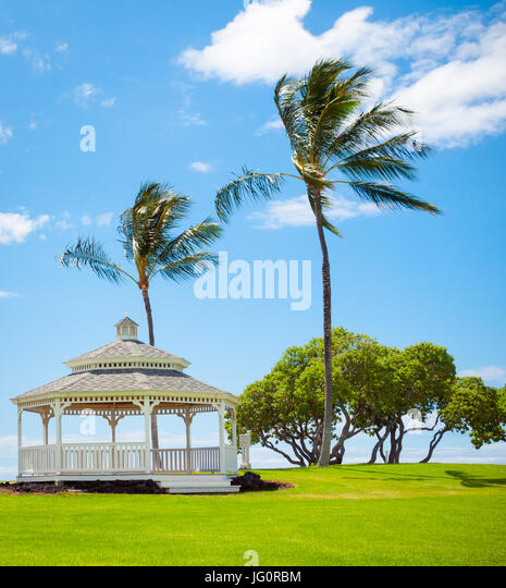 A view of the gazebo and breezy coconut palm trees at Turtle Pointe at the Fairmont Orchid on the Kohala Coast, - Stock Image