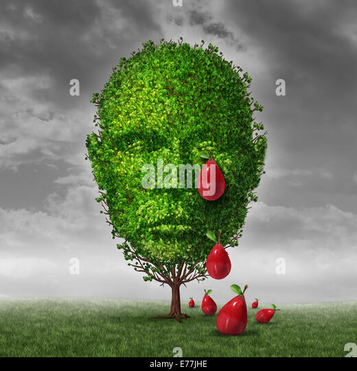 Depression and mental health concept as a tree shaped as a human head that is crying fruit shaped as tear drops - Stock Image