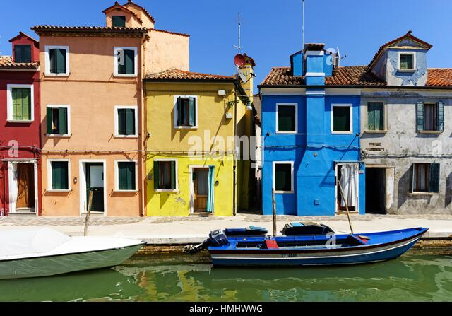 Brightly painted houses in Burano Venice Italy - Stock Image