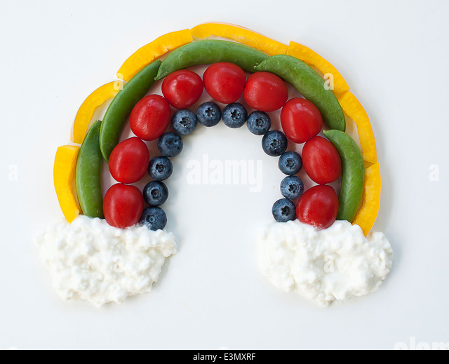 Food rainbow studio shot - Stock Image