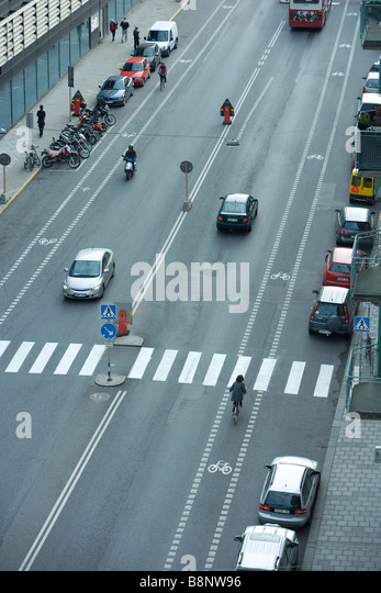 Sweden, Stockholm, urban street with light traffic - Stock Image