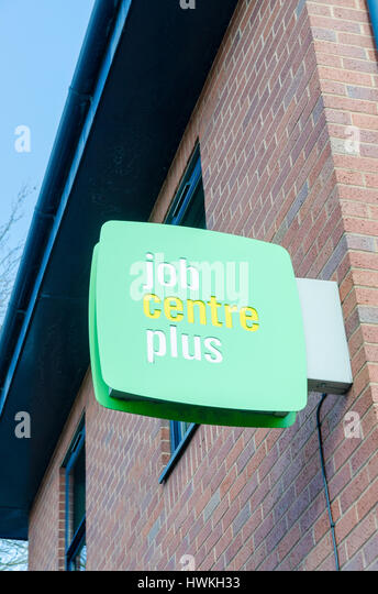 Job Centre Plus sign above job centre in Tipton, Black Country, West Midlands - Stock Image