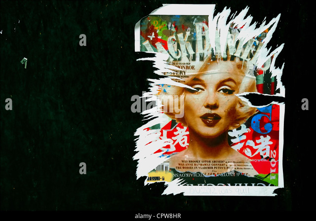 Padua, a poster of Marilyn Monroe appeared on the walls of the city in the day of his birth. - Stock Image