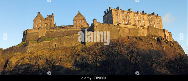 Edinburgh Castle Panorama,Scotland,UK at sunset - Stock Image