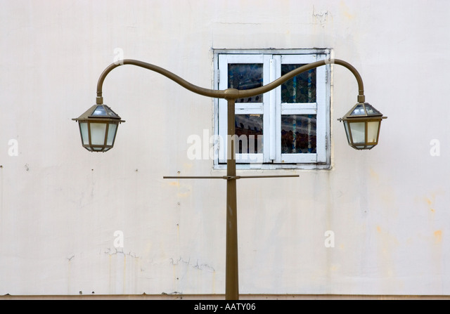 Street lamp and small window in Chinatown Singapore - Stock Image