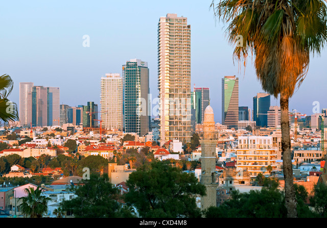 Downtown buildings viewed from HaPisgah Gardens Park, Jaffa, Tel Aviv, Israel, Middle East - Stock Image