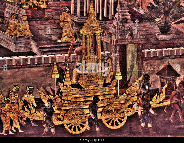 Ramayana Mural painting on exterior walls of king palace , bangkok Thailand - Stock Image