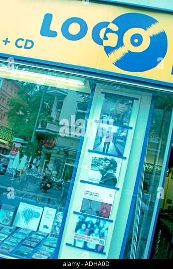 Berlin Kreuzberg Logo records shop Bergmannstreet - Stock Image