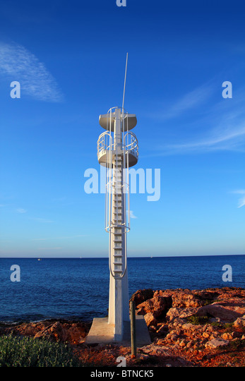 Bay watch white lookout tower in Mediterranean sea Denia Alicante Spain - Stock Image