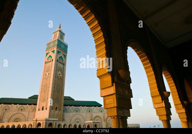 Morocco, Casablanca, Hassan II Mosque (b.1993) Holds 25,000 Worshipers and minaret is 210m tall-The Tallest Minaret - Stock Image