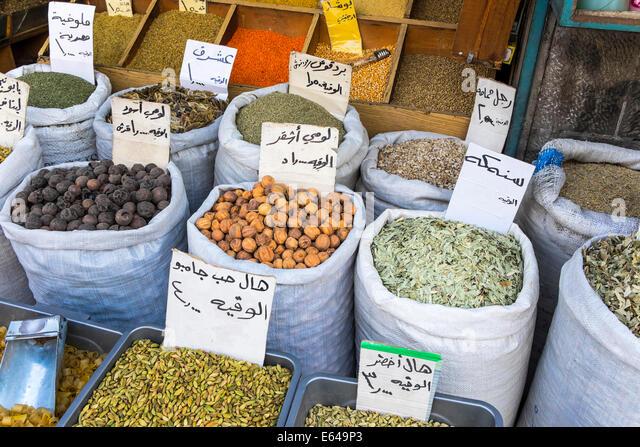 Herbs, pulses & spices in market, Amman, Jordan - Stock Image