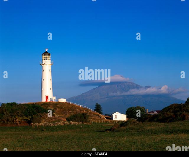 New zealand Mt Taranaki Mt Egmond National park lighthouse - Stock Image