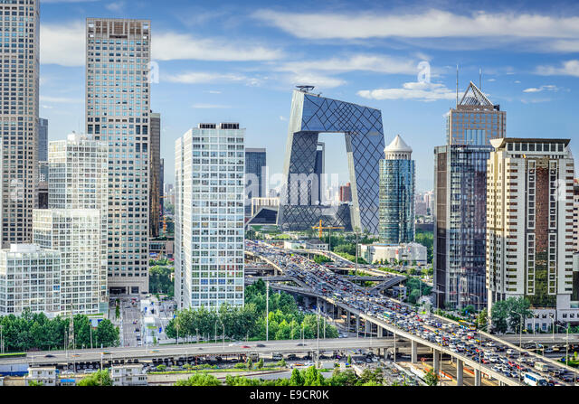 Beijing, China Financial District Skyline. - Stock Image