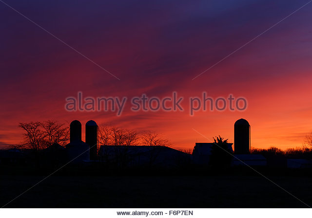 Sunrise over fram - Stock Image