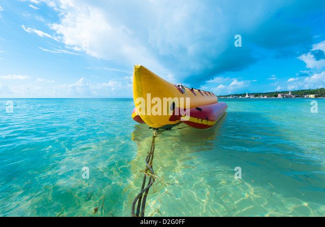 Inflatable banana boat at Caribbean Sea, San Andres Island, Colombia, South America - Stock Image