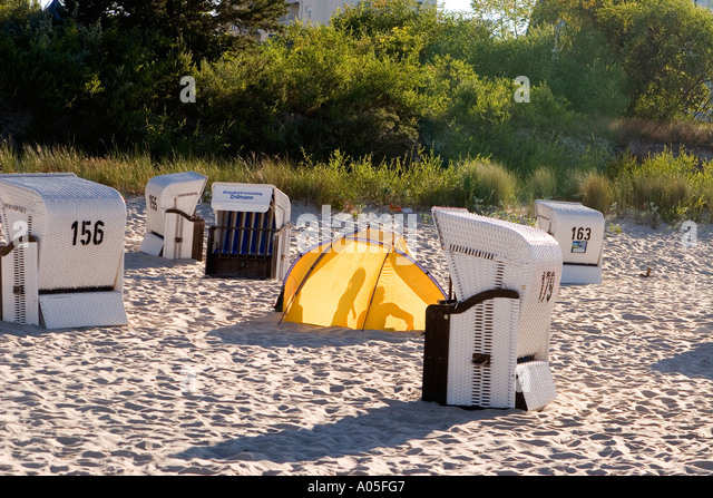 Usedom Heringsdorf beach chairs wind shelter - Stock Image