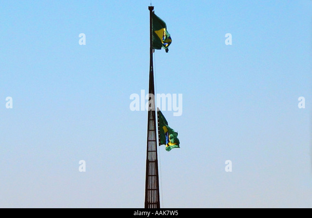 Ceremony of Changing of the Brazilian flag Three Powers Square Brasilia Brazil - Stock Image