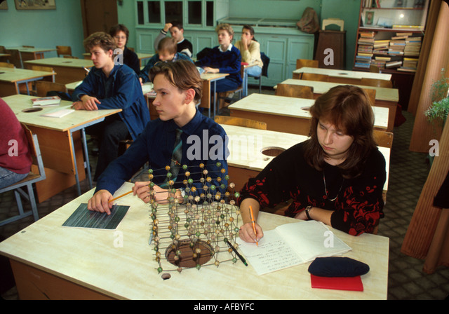 Russia former Soviet Union Moscow public school classroom age chemistry - Stock Image