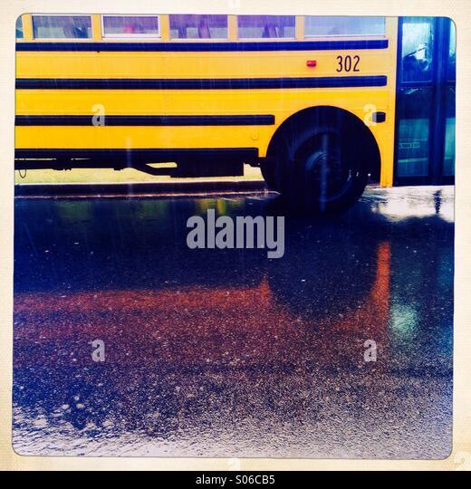 Yellow school bus , Atlanta Georgia, USA - Stock Image